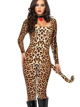 Sexy Leopard Pattern Long Tail Chic Square Neck Costume
