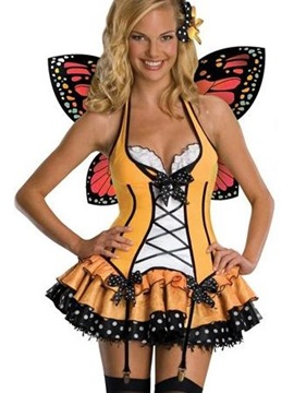 Cute Orange Mini Skirt With Butterfly Wings Costume