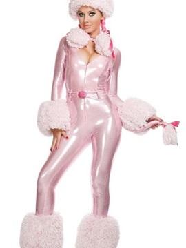 Cute Pink Poodle Deep V Bust Shiny Costume