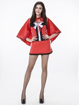 Bright Red Color With Sexy Cloak And Lace Cosplay Costumes