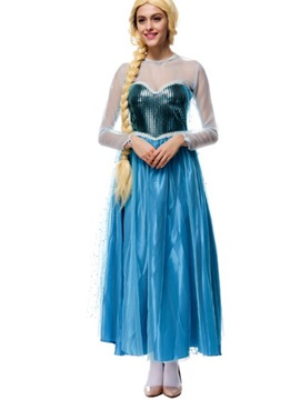 Frozen Princess Style With Bright Blue Color Fashion Cosplay Costumes
