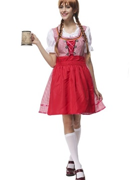 Charming Little Red Dress Beer Girl Uniform Cosplay Costumes