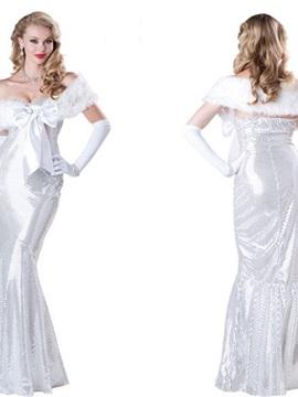 High Class Luxurious Pure White Mermaid Costume