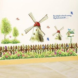 Lovely Windmill and Green Trees Print Country Style Wall Stickers