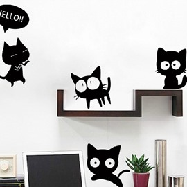 The Adventures of Little Black Cats Cartoon Lovely Home Decoration Wall Stickers