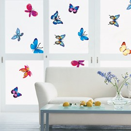Pretty 19-Piece Colorful Butterflies Wall Stickers