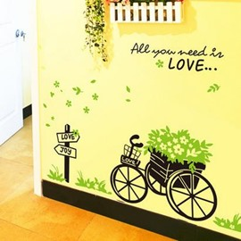 Classic Fresh Bicycle Green Grass Wall Stickers