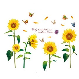 Sunflowers and Butterflies Sofa/TV Background Waterproof Wall Stickers