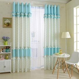 Elegant Blue Floral Print Polyester Cotton Grommet Top Curtain