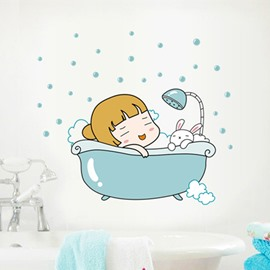 Bathroom Cute Girl in a Bathtub Removable Wall Sticker