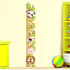 Cute Cartoon Animals Climbing Tree Nursery Growth Chart Removable Wall Sticker
