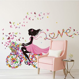Colorful Butterflies and Girl Riding Bike Waterproof Wall Sticker