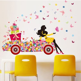 Fresh and Colorful Girl Sitting on Flower Car Print Kids Wall Sticker