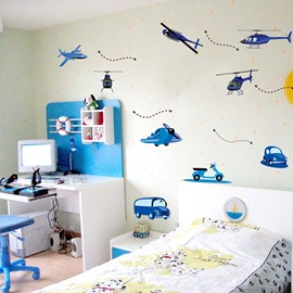 Blue Helicopters and Cars Nursery/Kids-room Wall Sticker