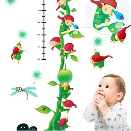 Green Plant Print Height Measurement Kids Wall Decal