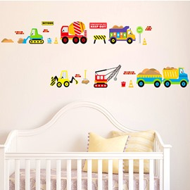 Cartoon Car Truck and Lorry Transportation Vehicles Removable Wall Sticker
