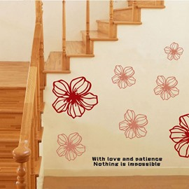 Amazing Red Flowers Pattern Decorative Wall Sticker