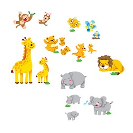 Deer Elephants Bears Birds Lion and Monkeys Wall Stickers
