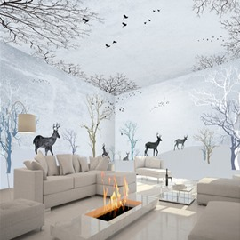 White Leisurely Deer in the Forest Pattern Combined Waterproof 3D Ceiling and Wall Murals
