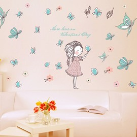 Removable Butterfly and Girl PVC 58'*41' Kids Wall Stickers