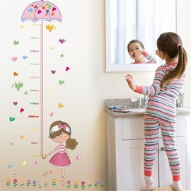 Durable Waterproof Umbrella and Cartoon Girl PVC Kids Room Height Ruler Wall Stickers