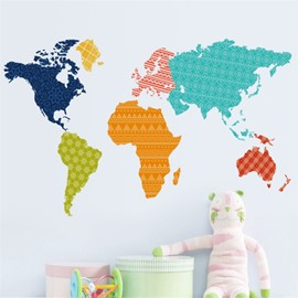 Durable Waterproof Colorful World Map PVC Kids Room Wall Stickers