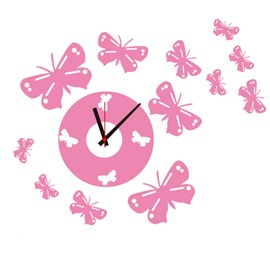 Durable Waterproof Pink Butterflies PVC Kids Room Clock Wall Stickers