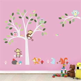 Durable Waterproof Trees and Animals PVC Kids Room Wall Stickers