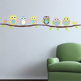 Durable Waterproof Owls on a Branch PVC Kids Room Wall Stickers