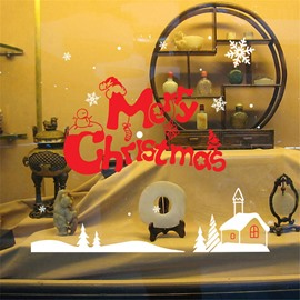 Durable Waterproof Merry Christmas PVC Red Kids Room Wall Stickers