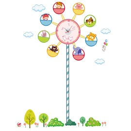 Durable Waterproof Cartoon Ferris Wheel PVC Kids Room Clock Wall Stickers