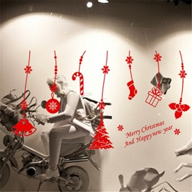 Durable Waterproof Hanging Christmas Gifts PVC Kids Room Wall Stickers