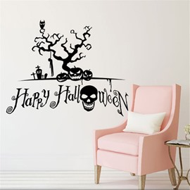 Durable Waterproof PVC Tree and Happy Halloween Kids Room Wall Stickers