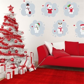 Durable Waterproof 6 Snowmen PVC Kids Room Wall Stickers
