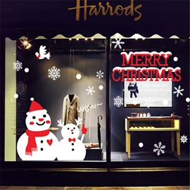 Durable Waterproof Snowman PVC Christmas Kids Room Wall Stickers