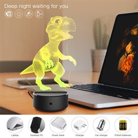 7 Colors Remote Control Dinosaur 3D Light LED Table Lamp Night Light/Lamp