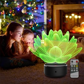 Remote Control Water Lily 3D Light LED Table Lamp Night Light With 7 Colors