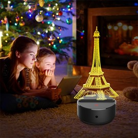 7 Colors Remote Control Classic Eiffel Tower 3D Light LED Table Lamp Night Light/Lamp