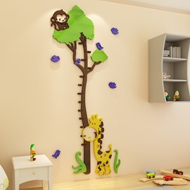 Funny Monkey And Giraffe 3D Acrylic Kids Room Height Ruler Wall Stickers