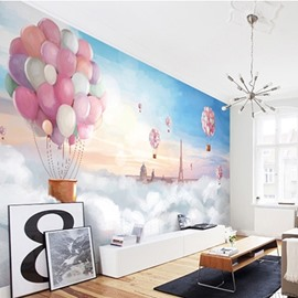 Non-woven Fabrics Waterproof Environment Friendly Colorful Balloon Kids Room Wall Mural