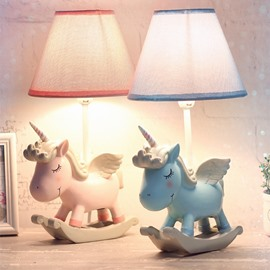 Environmental Friendly Resin Material 7.9*13.6in Cartoon Unicorn Kids Room Lamp