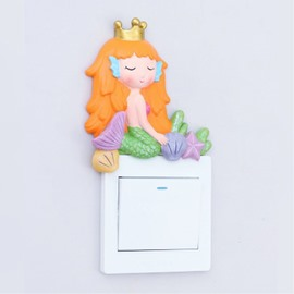 3D Resin Material Mermaid Shape Switch Removable Wall Sticker