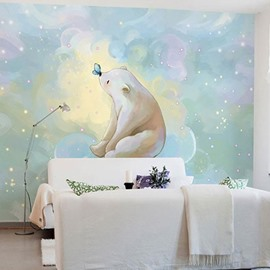 Environment Friendly Waterproof Non-woven Fabrics Cartoon Bear Dreamlike Wall Mural