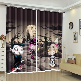 Grey Style Cute Little Zombies 3D Polyester Halloween Scene Curtain for Kids Room/Living Room