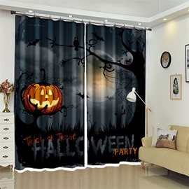 3D Polyester Creative Horrific Style Pumpkin Halloween Scene Curtain for Kids Roome/Living Room