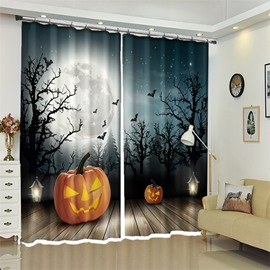 3D Polyester Moonshine And Pumpkin Halloween Scene Curtain for Kids Room/Living Room
