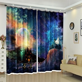 3D Polyester Dreamlike Halloween Scene Curtain for Kids Room/Living Room