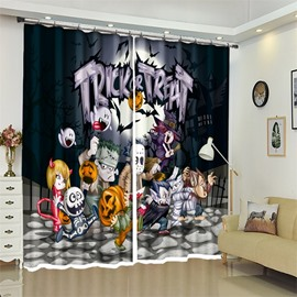 3D Polyester Funny Cartoon Fiugre Halloween Scene Curtain for Kids Room/Living Room