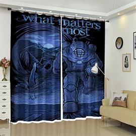 Blue 3D Polyester Custom Spaceman Halloween Scene Curtain for Kids Room/Living Room