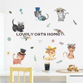 Cartoon Cute Cats Pattern Environment Friendly PVC Waterproof Living Room Kids Room Wall Sticker